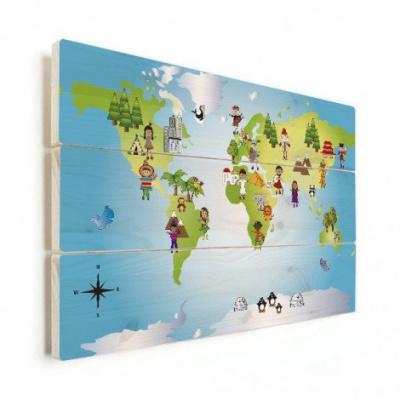Wereldkaart Onze Bewoners Prent - Horizontale planken hout 120x80