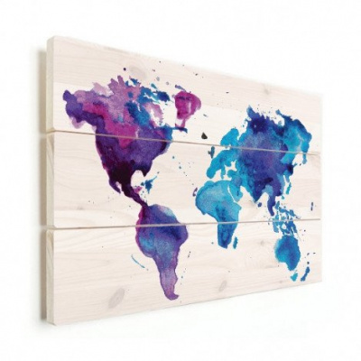 Wereldkaart Paarstint Aquarel - Verticale planken hout 40x30