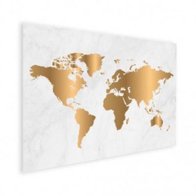 Wereldkaart Golden Marble - Houten plaat 80x60