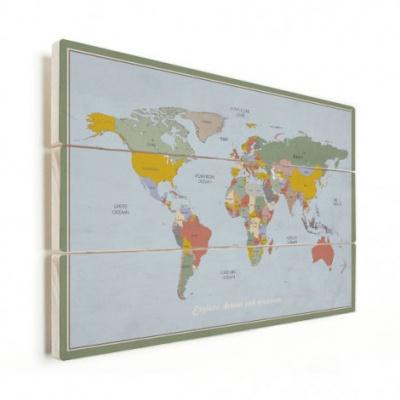 Wereldkaart Aardrijkskundig Explore Kleuren - Horizontale planken hout 90x60