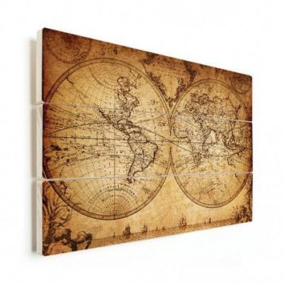Wereldkaart The World Perkament - Horizontale planken hout 80x60