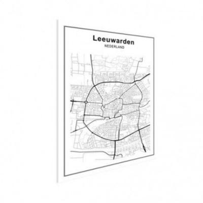 Stadskaart Leeuwarden - Houten Plaat 60x80