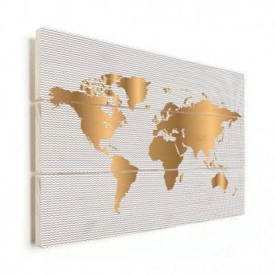 Wereldkaart Golden Waves - Verticale planken hout 120x80