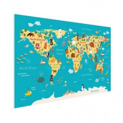 Wereldkaart Leerzaam En Leuk - Houten plaat 40x30