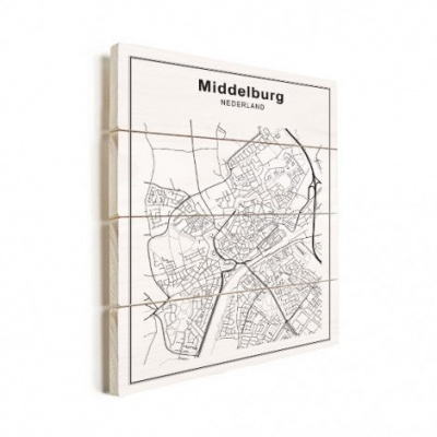 Stadskaart Middelburg - Horizontale planken hout 60x80