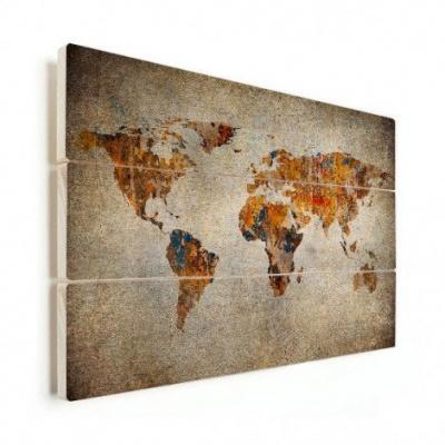 Wereldkaart Vintage Kleuren - Horizontale planken hout 90x60