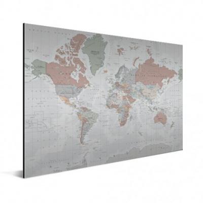 Wereldkaart Aardrijkskundig Lichte Tinten - Geborsteld aluminium 120x80