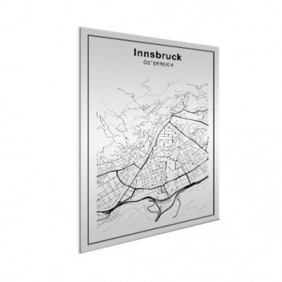 Stadskaart Innsbruck - Wit aluminium 30x40