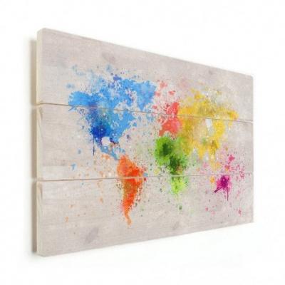 Wereldkaart Atristiek Gekleurde Verfspatters - Verticale planken hout 90x60
