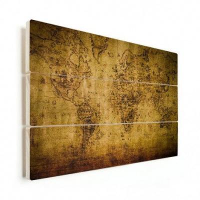 Wereldkaart Getekend - Horizontale planken hout 80x60
