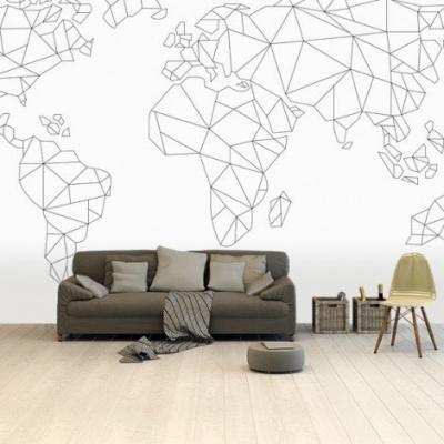 Wereldkaart Geometrische Lijnen - Vinylbehang 265x400