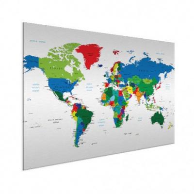 Wereldkaart Alle Landen - Wit aluminium 100x50