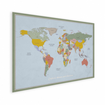 Wereldkaart Aardrijkskundig Explore Kleuren - Houten plaat 60x40