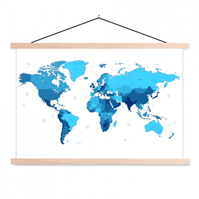 Wereldkaart Blauwtinten - Schoolplaat 60x40