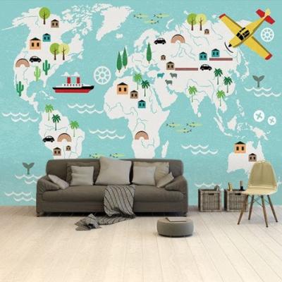 Wereldkaart Prent Vervoersmiddelen - Airtex behang 265x350