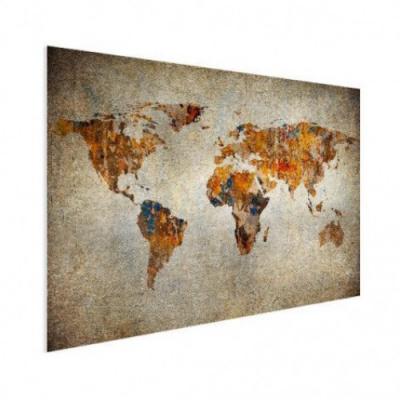 Wereldkaart Vintage Kleuren - Houten plaat 80x60