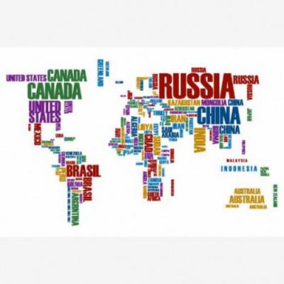 Wereldkaart Continenten In Tekst Kleur - Houten plaat 120x80