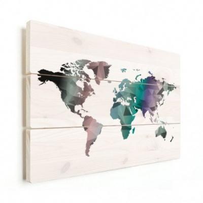 Wereldkaart Geometrische Kleuren - Horizontale planken hout 80x60