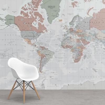 Wereldkaart Aardrijkskundig Lichte Tinten - Airtex behang 265x350