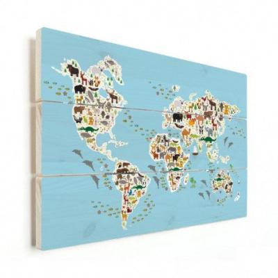 Wereldkaart Dieren Van De Wereld - Horizontale planken hout 120x80