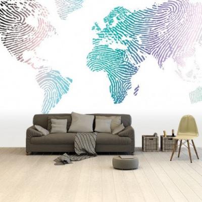 Wereldkaart Fingerprints Gekleurd - Airtex behang 265x400