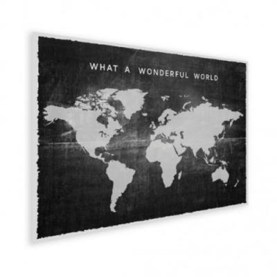 Wereldkaart What A Wonderful World Zwart - Houten plaat 80x60