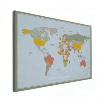 Wereldkaart Aardrijkskundig Explore Kleuren - Canvas 100x50