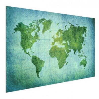 Wereldkaart Vervaagd Groen - Poster 60x40