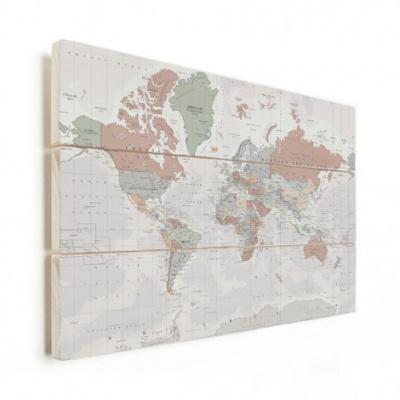 Wereldkaart Aardrijkskundig Lichte Tinten - Horizontale planken hout 90x60