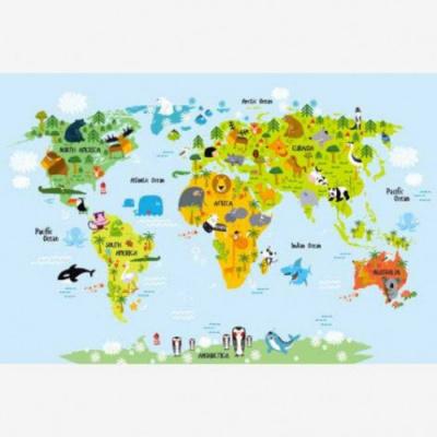 Wereldkaart Voor Kinderen - Houten plaat 80x60