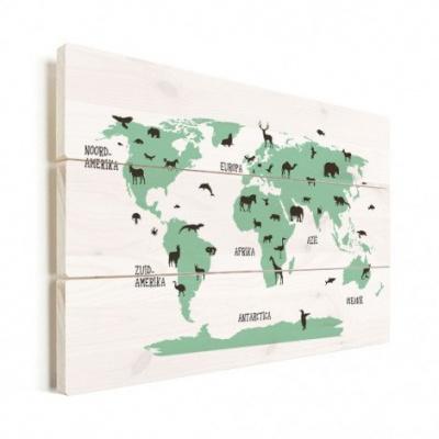 Wereldkaart Dieren Per Continent Groen - Horizontale planken hout 40x30