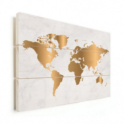 Wereldkaart Golden Marble - Verticale planken hout 90x60