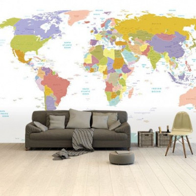 Wereldkaart Alle Landen - Pastel - Airtex behang 265x350