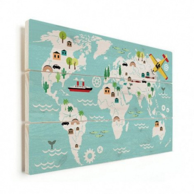 Wereldkaart Prent Vervoersmiddelen - Horizontale planken hout 40x30