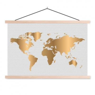 Wereldkaart Golden Waves - Schoolplaat 90x60