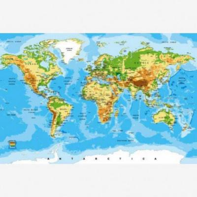 Wereldkaart Klassiek - Houten plaat 120x80
