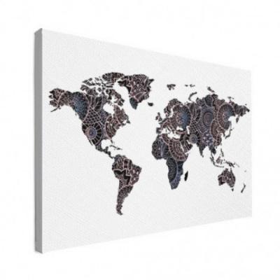 Wereldkaart Circelpatroon Diagonale Lijnen Paarstint - Canvas 120x80