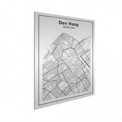 Stadskaart Den Haag - Geborsteld aluminium 30x40