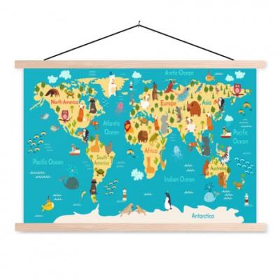 Wereldkaart Leerzaam En Leuk - Schoolplaat 60x40