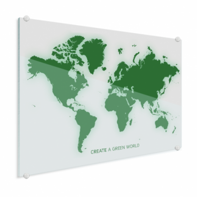 Wereldkaart Create A Green World - Plexiglas 100x50