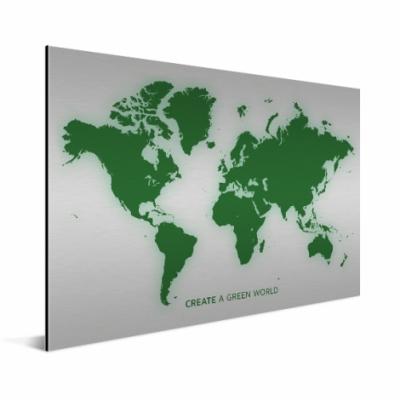Wereldkaart Create A Green World - Geborsteld aluminium 100x50