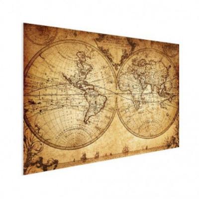 Wereldkaart Historisch Tweedelig - Houten plaat 80x60