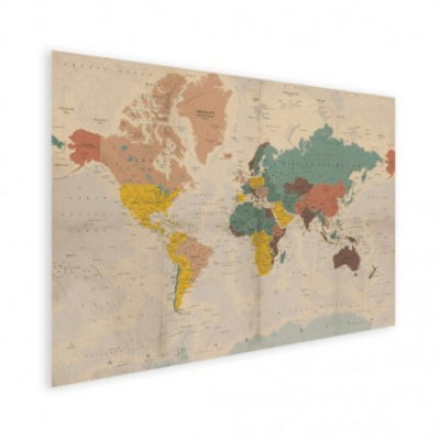 Wereldkaart Aardrijkskundig Stoffig - Houten plaat 60x40