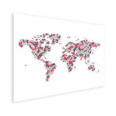 Wereldkaart Butterfly Earth - Houten plaat 80x60