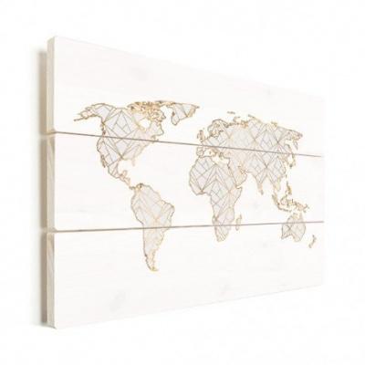 Wereldkaart Geometrische Gouden Lijnen Grijs - Horizontale planken hout 120x80