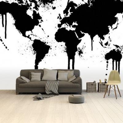 Wereldkaart Artistieke Spots - Vinylbehang 265x400