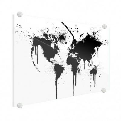 Wereldkaart Artistieke Spots - Plexiglas 100x50