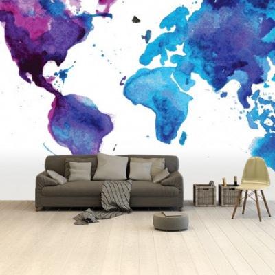 Wereldkaart Paarstint Aquarel - Airtex behang 265x400