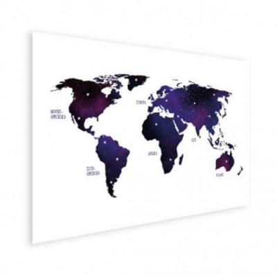 Wereldkaart Stars And Continents Paarstint - Houten plaat 120x80