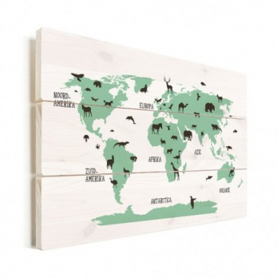 Wereldkaart Dieren Per Continent Groen - Verticale planken hout 40x30